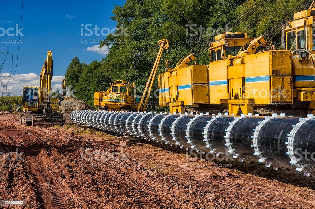 Construction of a gas pipeline stock photo