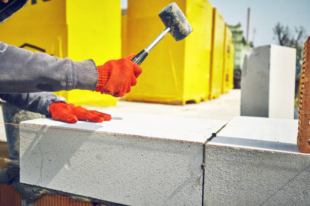 Construction of a house of aerated concrete kirtich stock photo