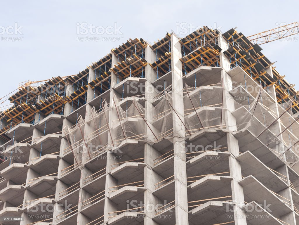 Construction of a modern panel building stock photo