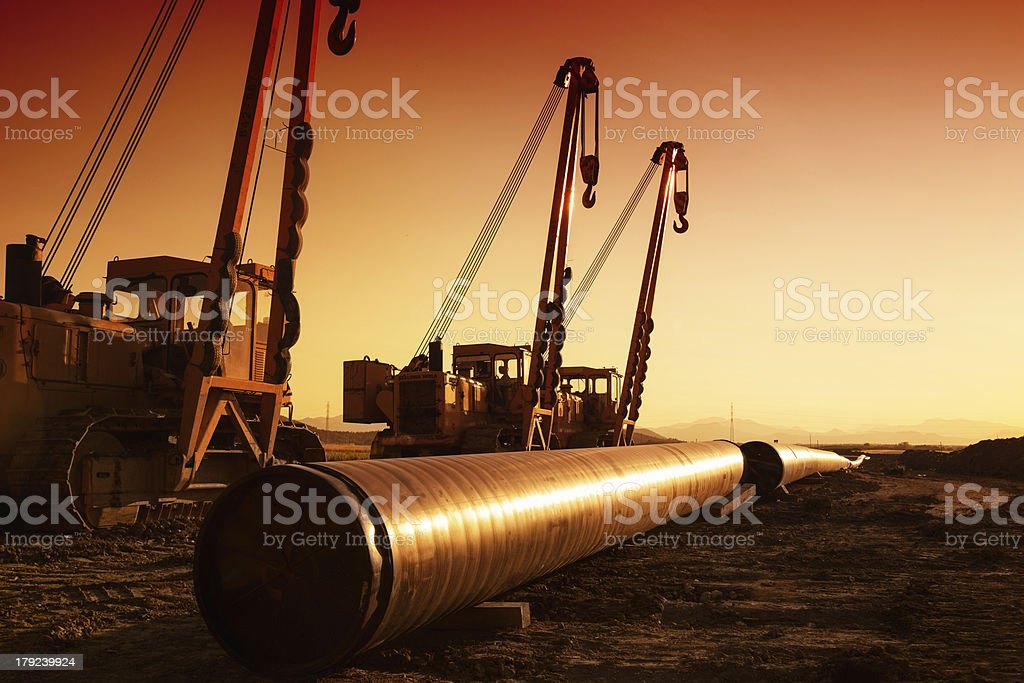 Construction of a natural gas pipeline stock photo