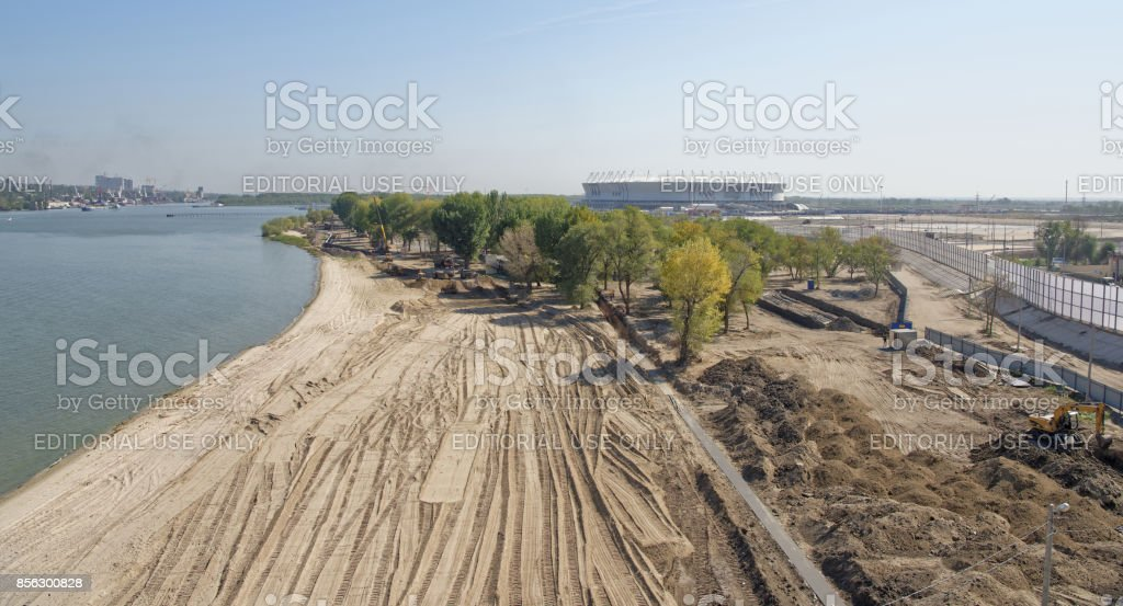 Construction of a new beach for the 2018 FIFA World Cup.New stadium is visible stock photo