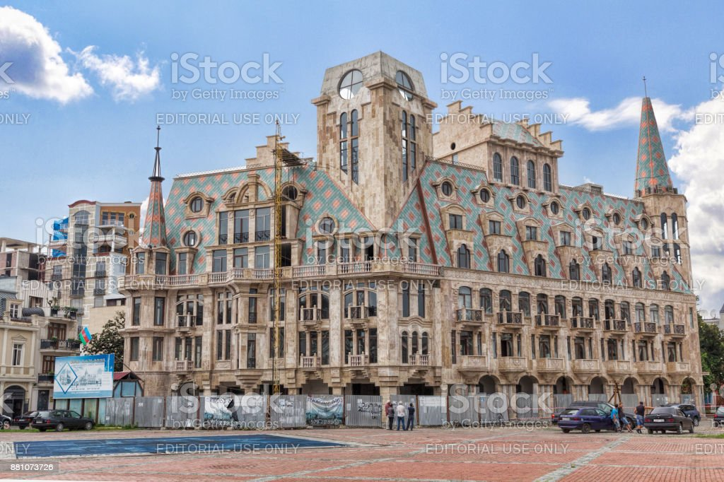 Construction of a new casino hotel in the center of Batumi stock photo