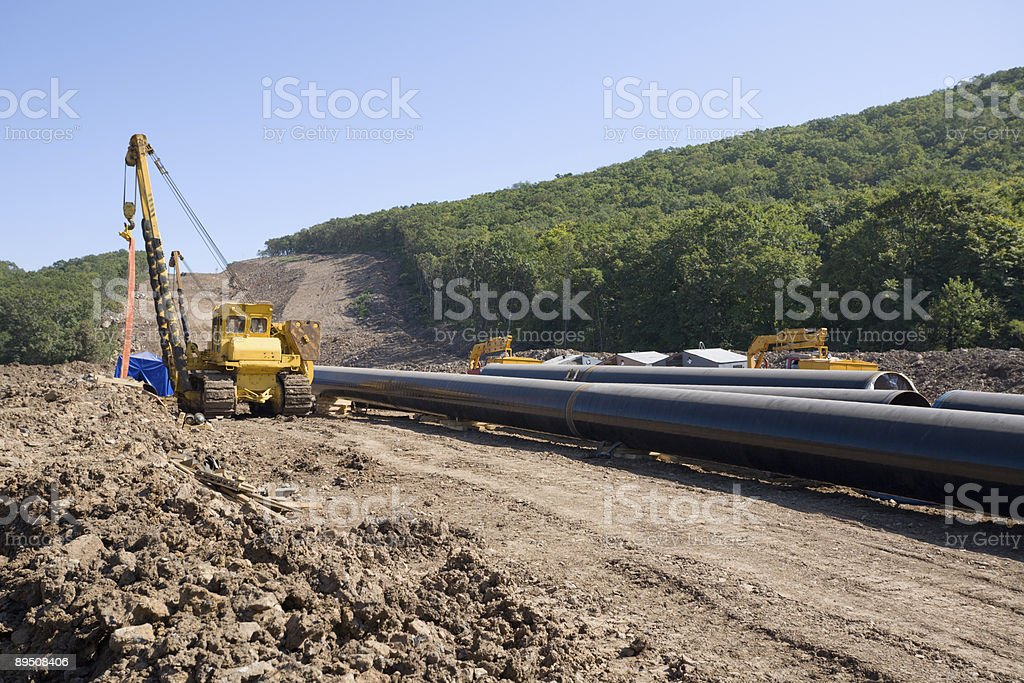 construction of a new oil pipeline stock photo