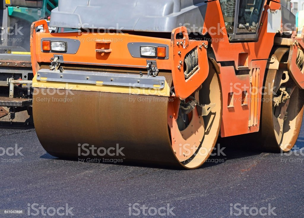 Construction of a new road in the city stock photo