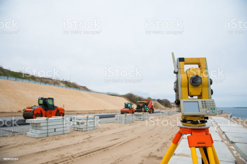 Construction of a new road stock photo