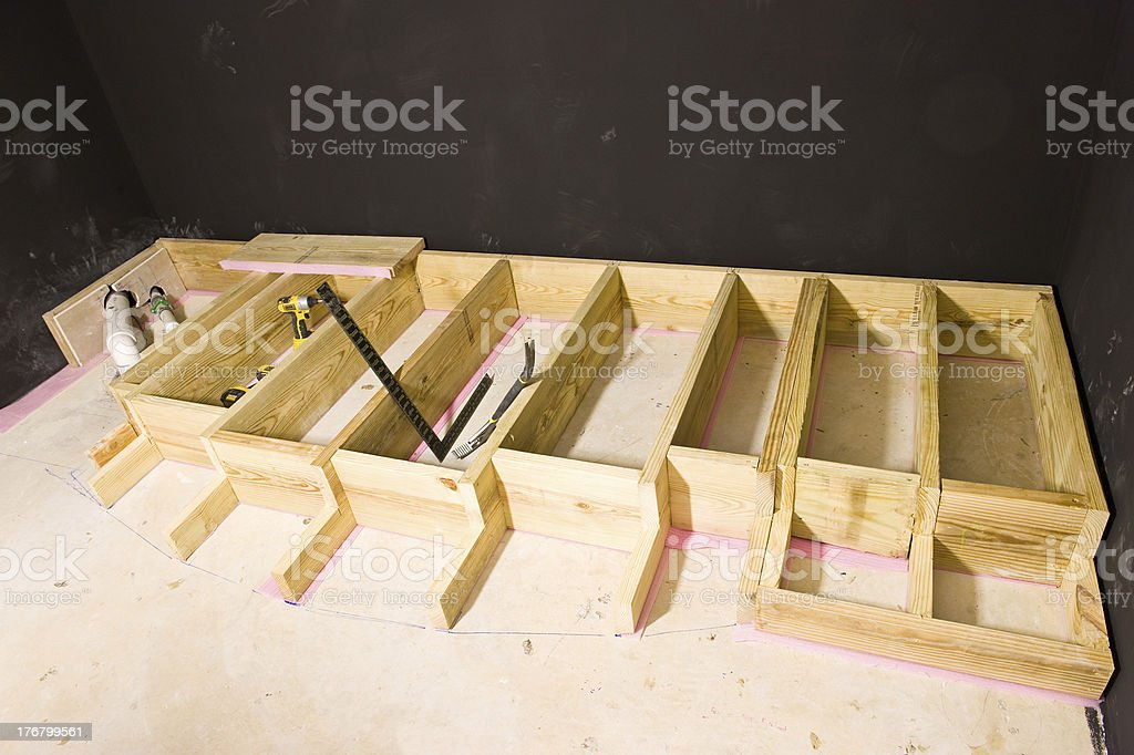 Construction of a Proscenium Stage for Home Theater stock photo