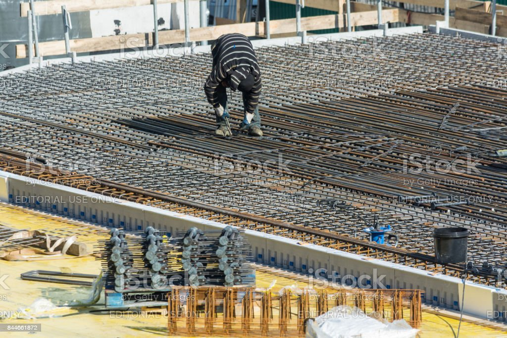 Construction of a residential and commercial building in Velbert City. stock photo