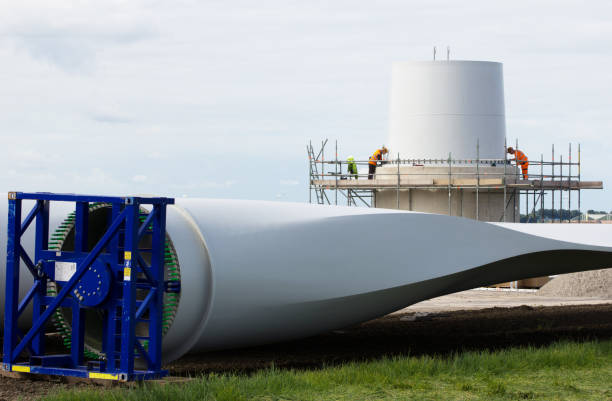Construction of a wind-turbine stock photo