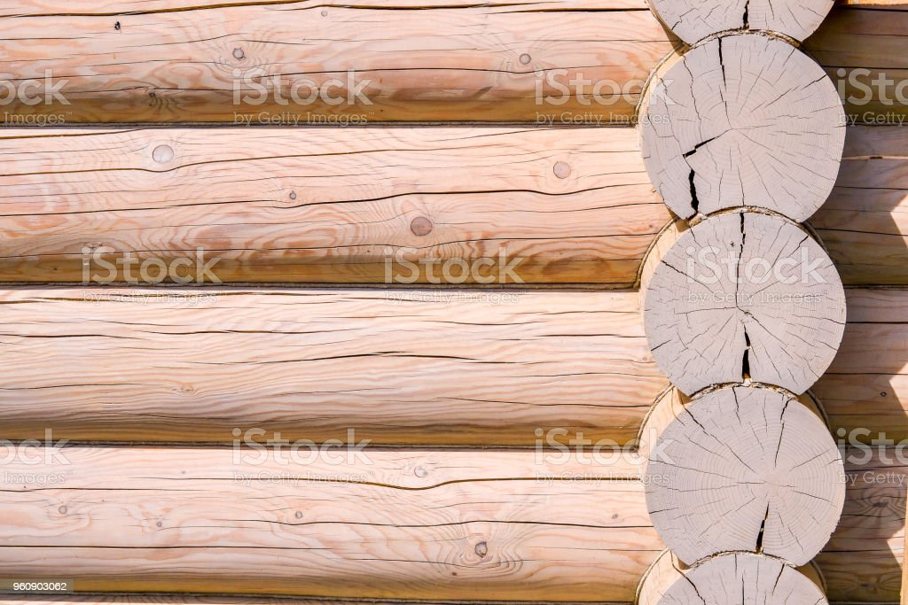 Construction of a wooden house from logs. Ecological house. New...