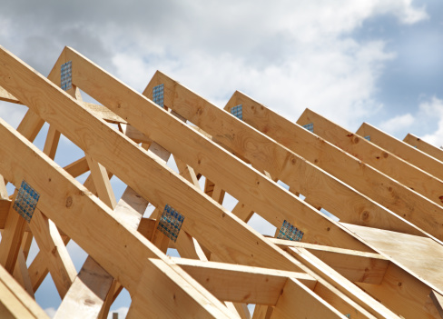 close up of a new roof under construction.