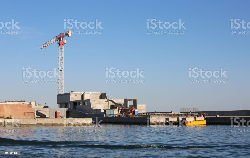 Construction of an mobile dam to protect the island of Venice fr royalty-free stock photo