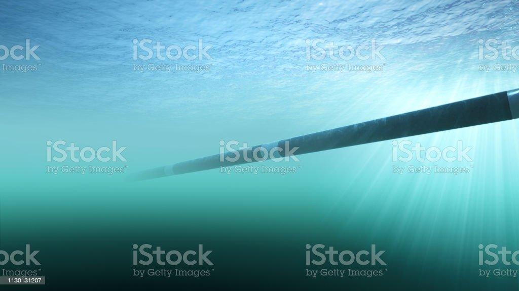 Aanleg van een gaspijpleiding onderwater - Royalty-free Aardolie Stockfoto