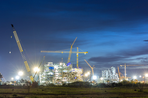 construction of chemical plant industry  in sunset timeconstruction of chemical plant industry  in sunset time