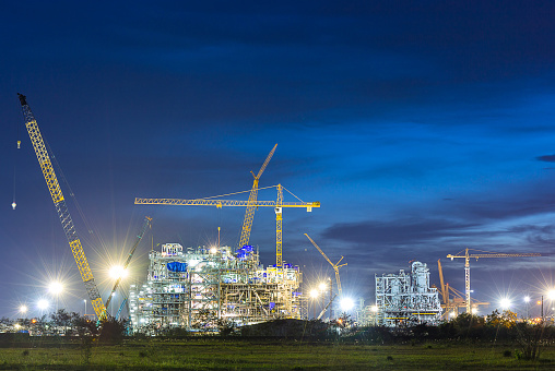construction of chemical plant industry  in sunset time