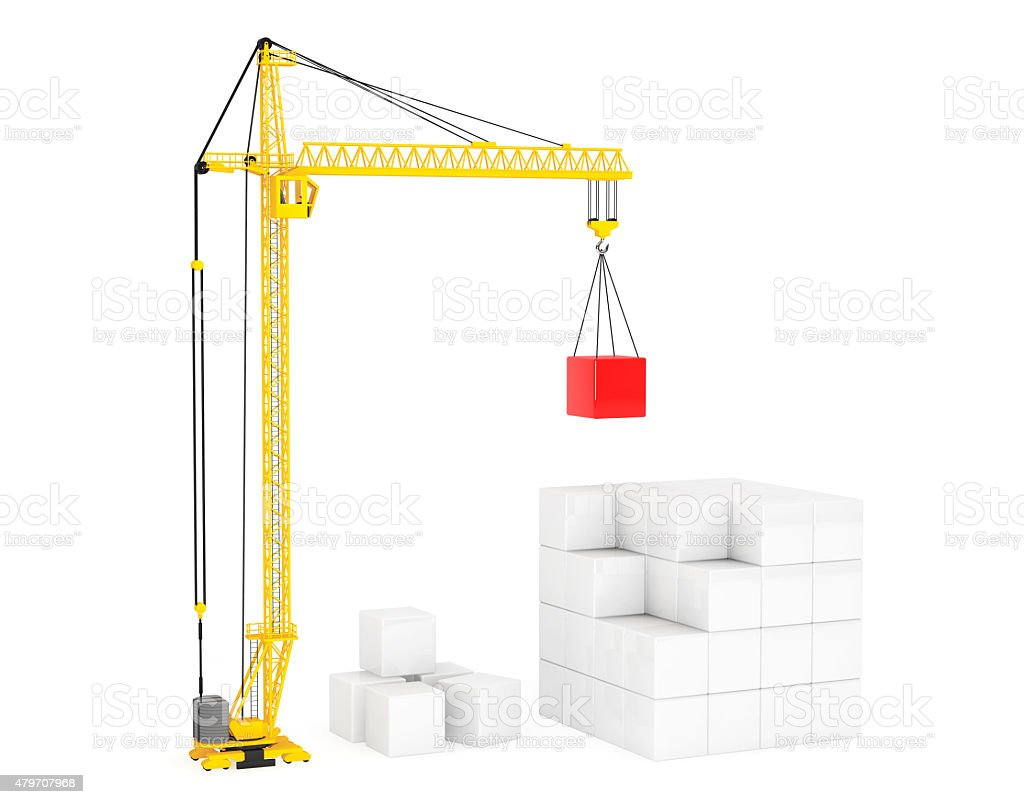 Construction of Cubes by Yellow Tower Crane stock photo