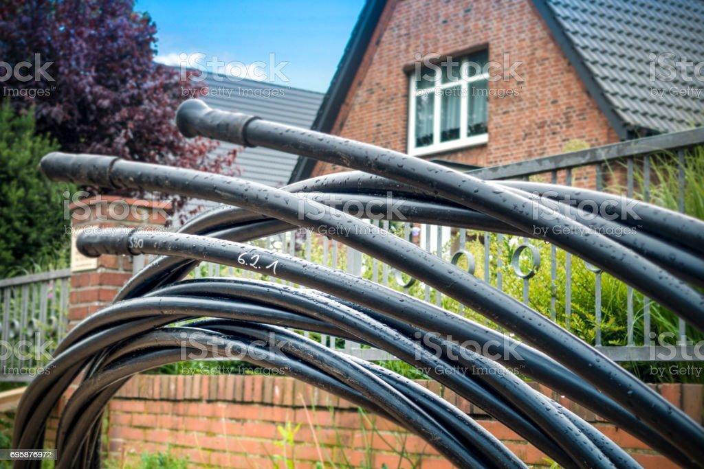 Bau von Glasfaser-Netzwerk - Lizenzfrei Arbeiten Stock-Foto