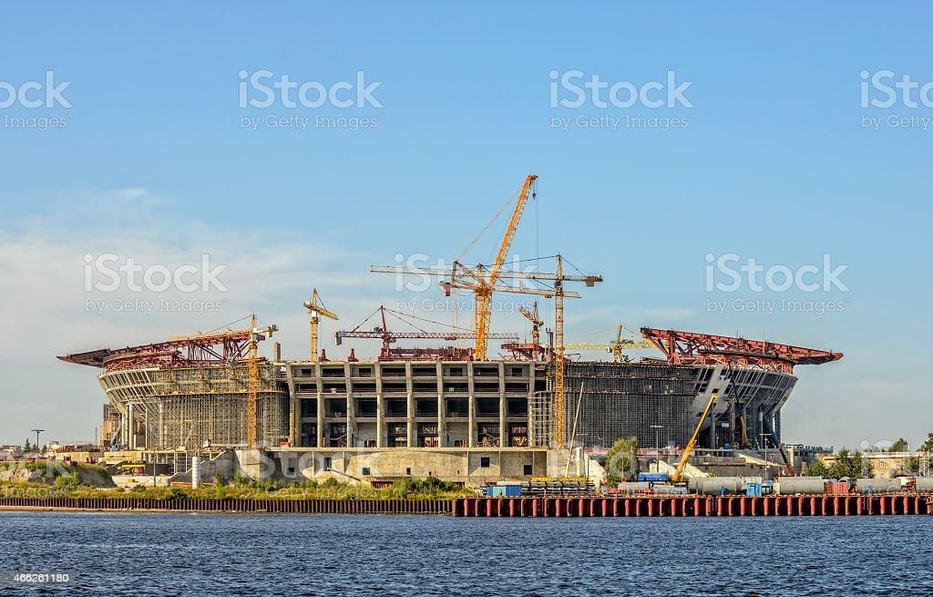Construction of football stadium stock photo