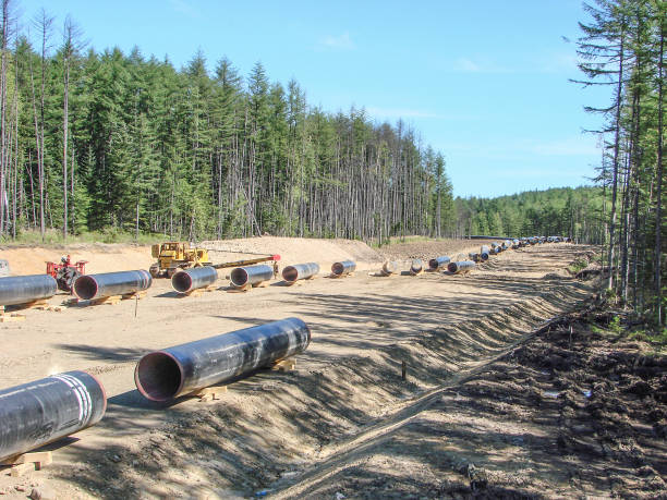 Construction of  gas pipeline on the ground - foto stock