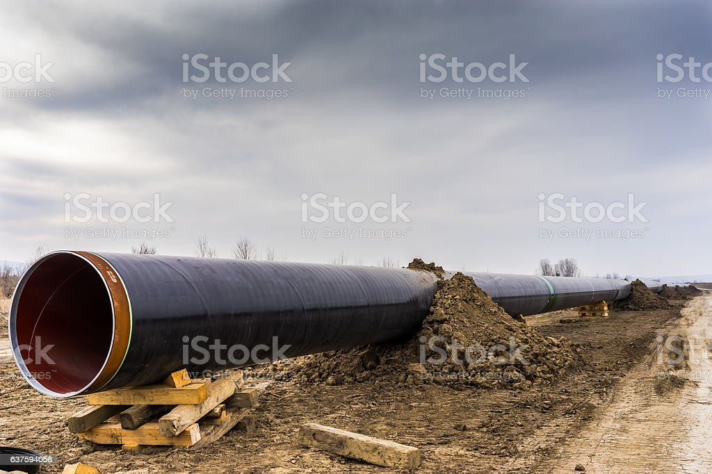 construction of gas pipeline stock photo