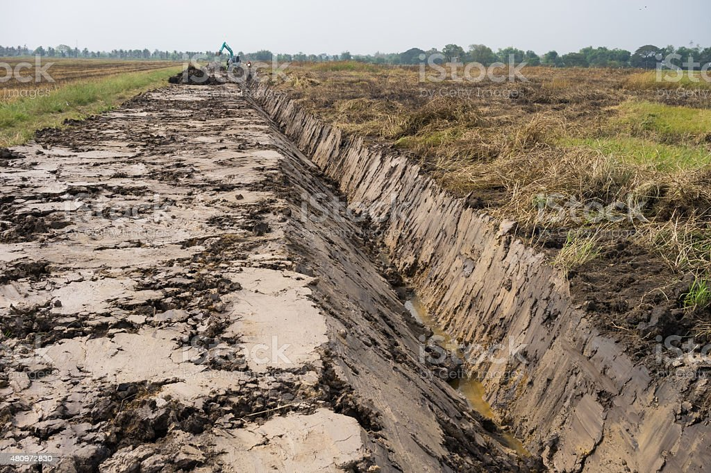 Construction  of irrigation for agriculture stock photo