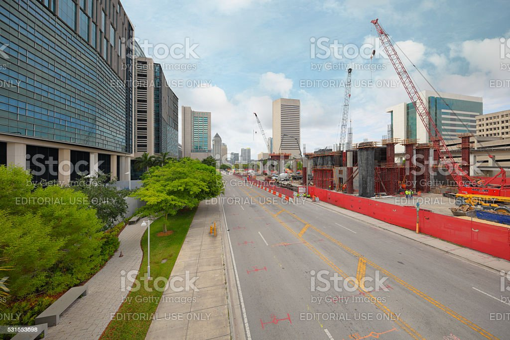 Construction of Miami Central Station stock photo