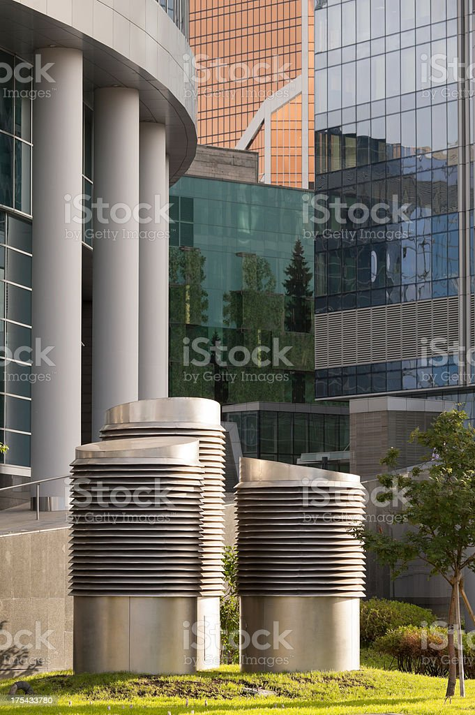 Construction of modern skyscrapers in financial district royalty-free stock photo