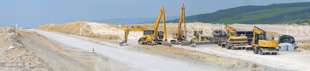 Construction of motorway in Germany, panorama stock photo