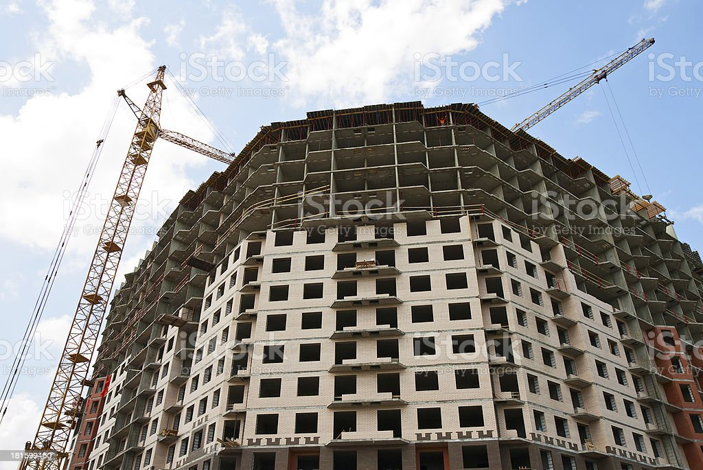 Construction of multi-storey residential house stock photo
