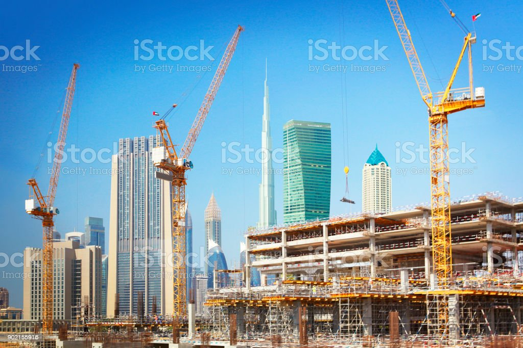 Construction of new buildings in Dubai stock photo
