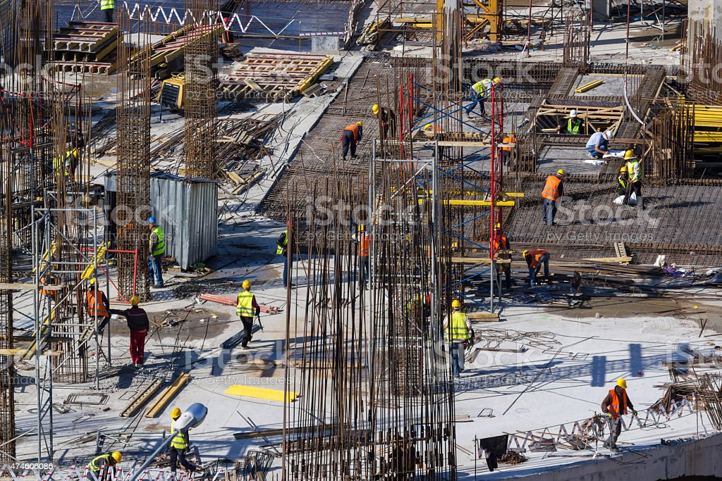Construction of new buildings stock photo