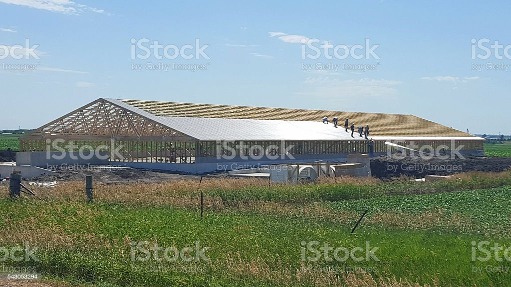 Construction of New Hog Barn in Iowa stock photo