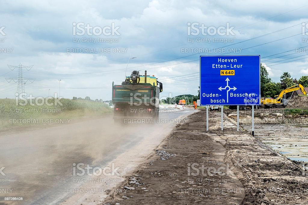 Construction of new road N 640 Oudenbosch royalty-free stock photo