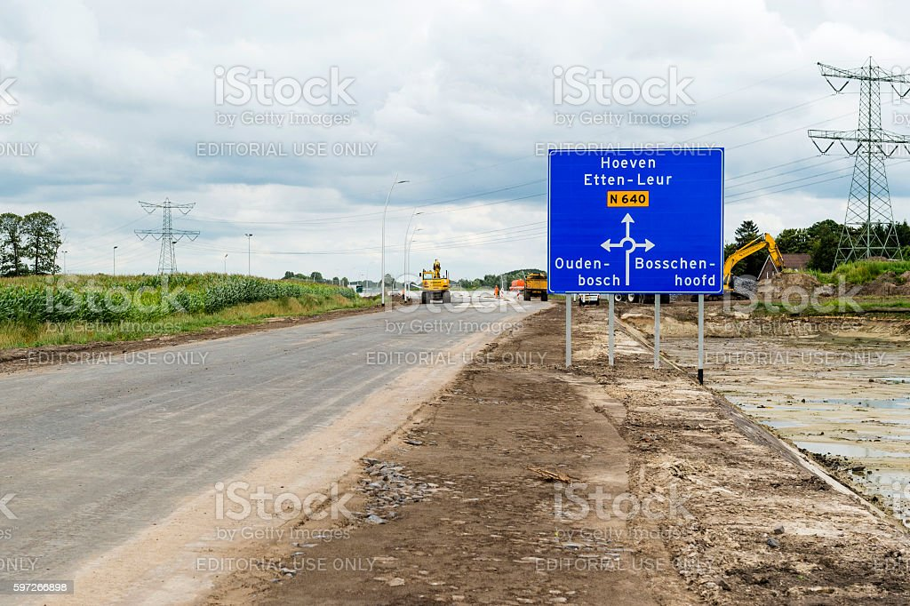 Construction of new road N 640 Oudenbosch photo libre de droits
