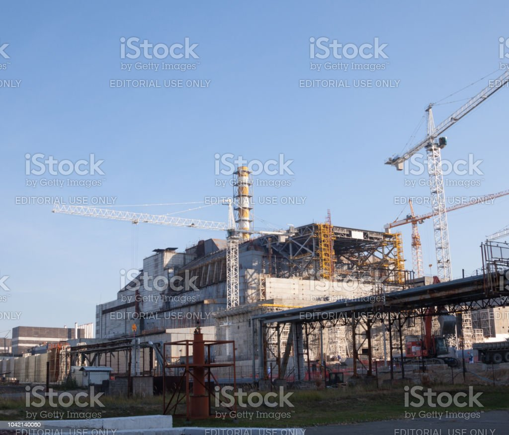 Construction Of New Safe Confinement At Chernobyl Stock