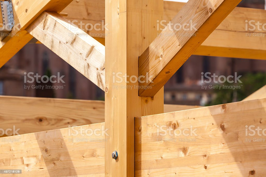 Construction of new wooden house stock photo