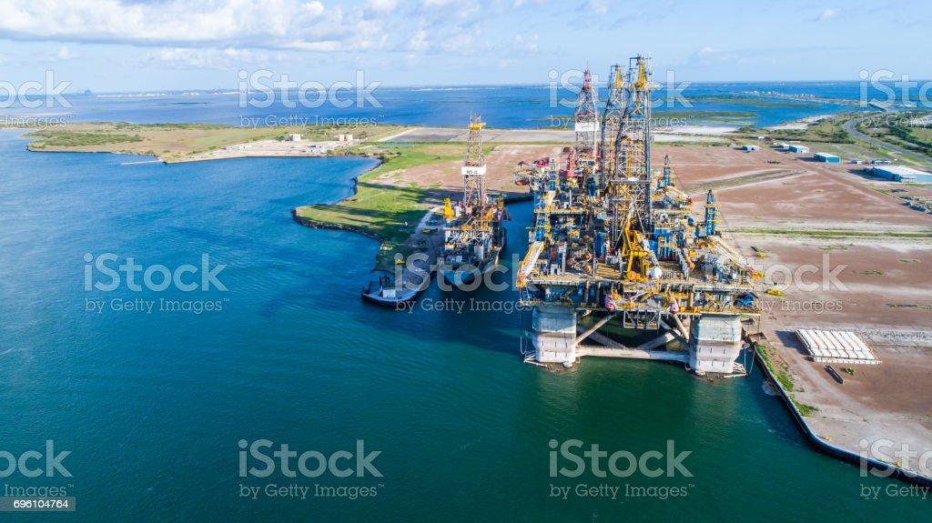Bau der Bohrinsel in Texas Gulf Coast Lizenzfreies stock-foto