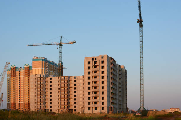 Construction of panel high-rise buildings stock photo