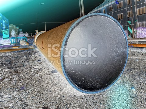 Construction of plastic and metal pipes. Industrial material. Abstract filter.