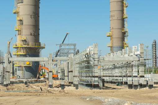 Construction of refinery complex.  Construction site