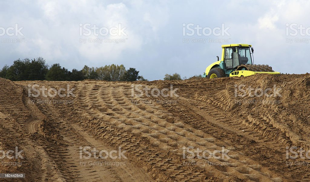 Construction of roads, earthworks stock photo