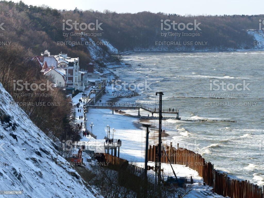 construction of shore protection, construction of the promenade, 18 March 2018, Russia, Kaliningrad region, Svetlogorsk, Baltic sea stock photo