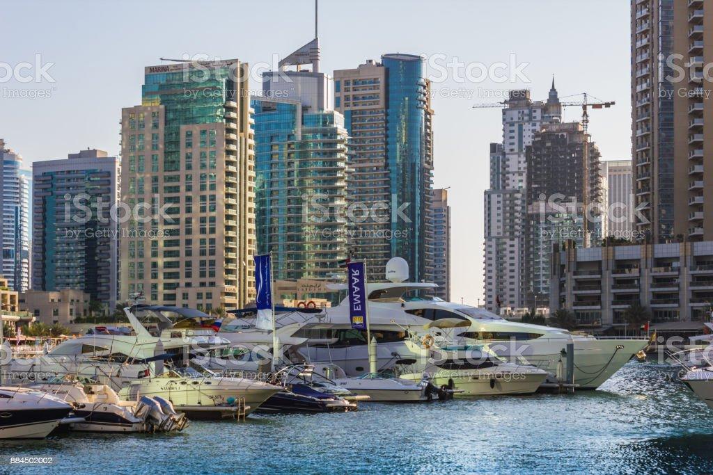 Construction of skyscrapers in Dubai UAE stock photo