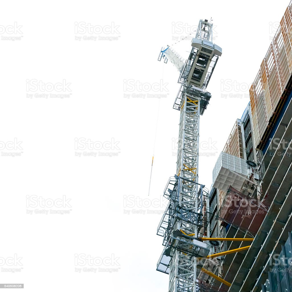 Construction of skyscrapers with tower crane, Australia, copy space stock photo