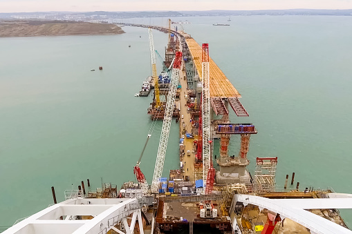 Construction of the bridge. Engineering facilities for the construction of a railway and automobile bridge across the strait.