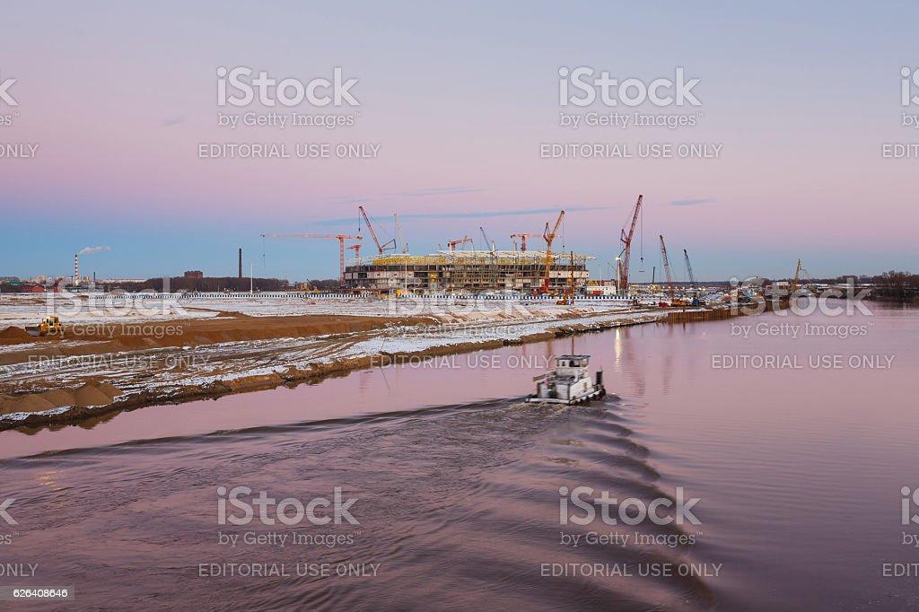 Construction of the new stadium in Kaliningrad stock photo