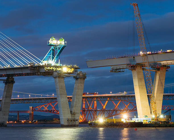 construction of the queensferry crossing over the firth of forth - bridge built structure stock photos and pictures