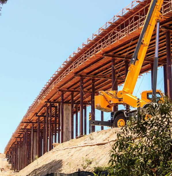 Construction of the San Diego Trolley Extension stock photo