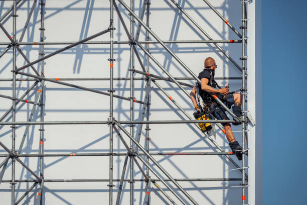 Construction of the scaffolding for The Passion stock photo