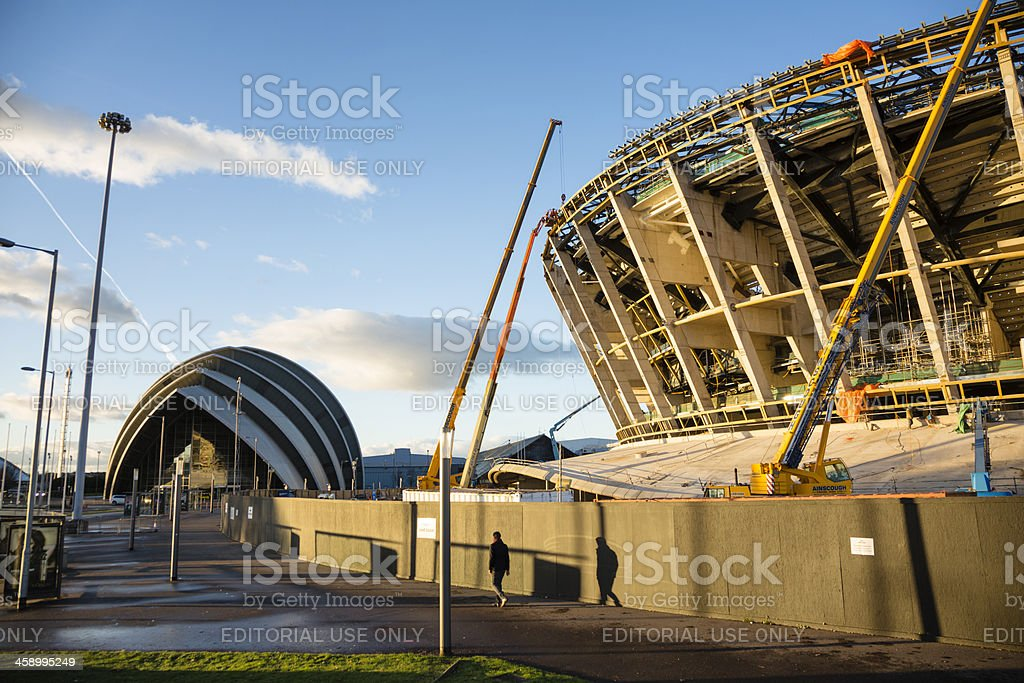 Construction of the Scottish Hydro Arena, Glasgow royalty-free stock photo
