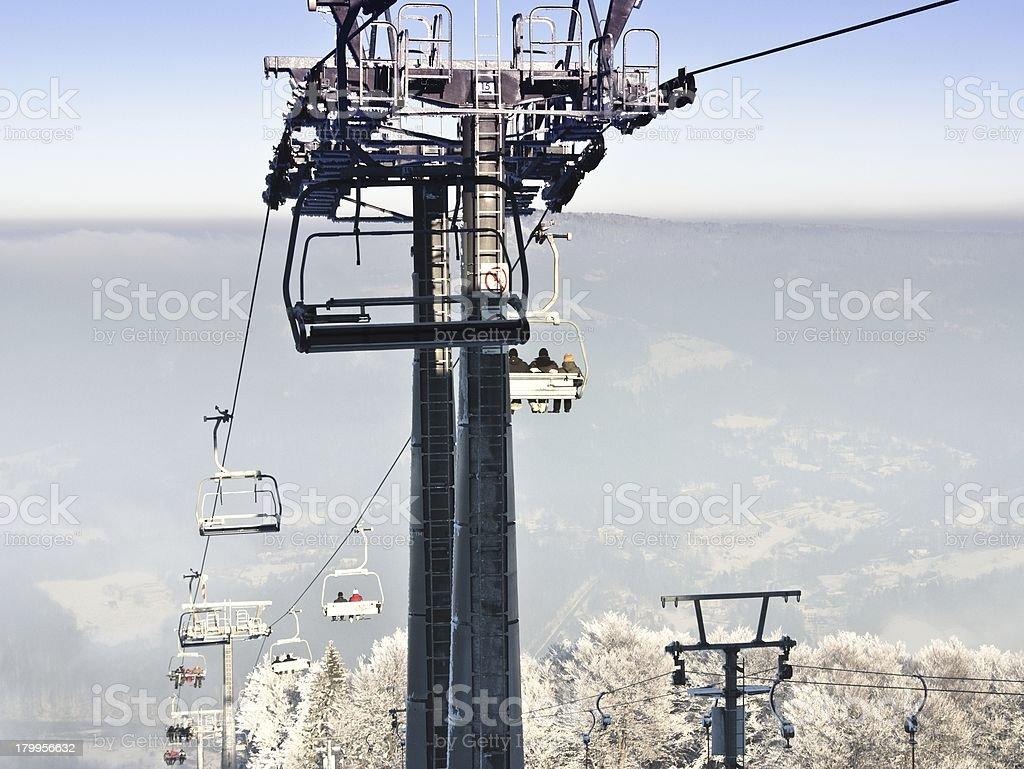 Construction of the ski lift royalty-free stock photo